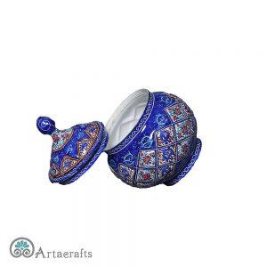 enamel sugar bowl is handmade.