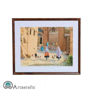 watercolor of a village in Isfahan