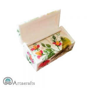 جعبه جواهر طرح گل و مرغ 9 سانتیمتری