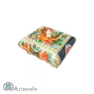 جعبه جواهر مربع گل و مرغ