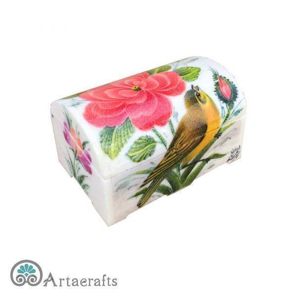 جعبه جواهر طرح گل و مرغ 7 سانتیمتری