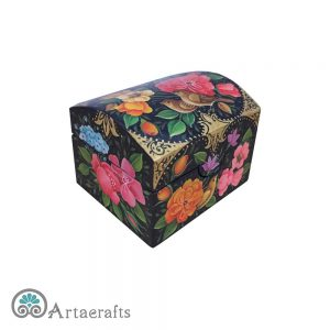 جعبه جواهر پاپیه ماشه گل و مرغ